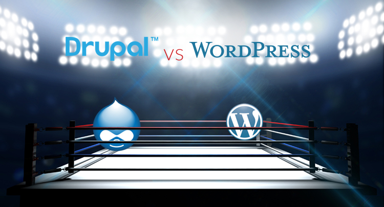 image of boxing ring with Drupal logo at left and WordPress logo at right in ring