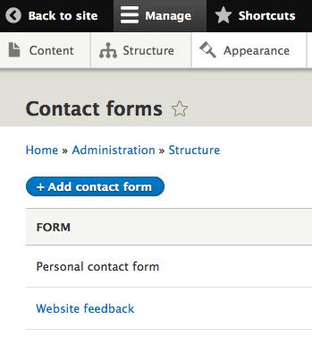 Drupal 8 Contact Form Admin