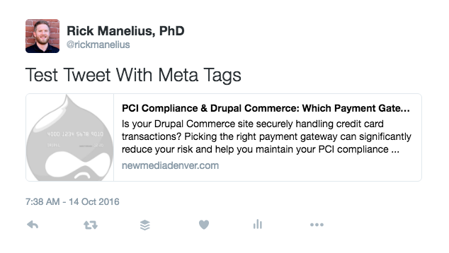 A tweet from a URL that contains meta tags.