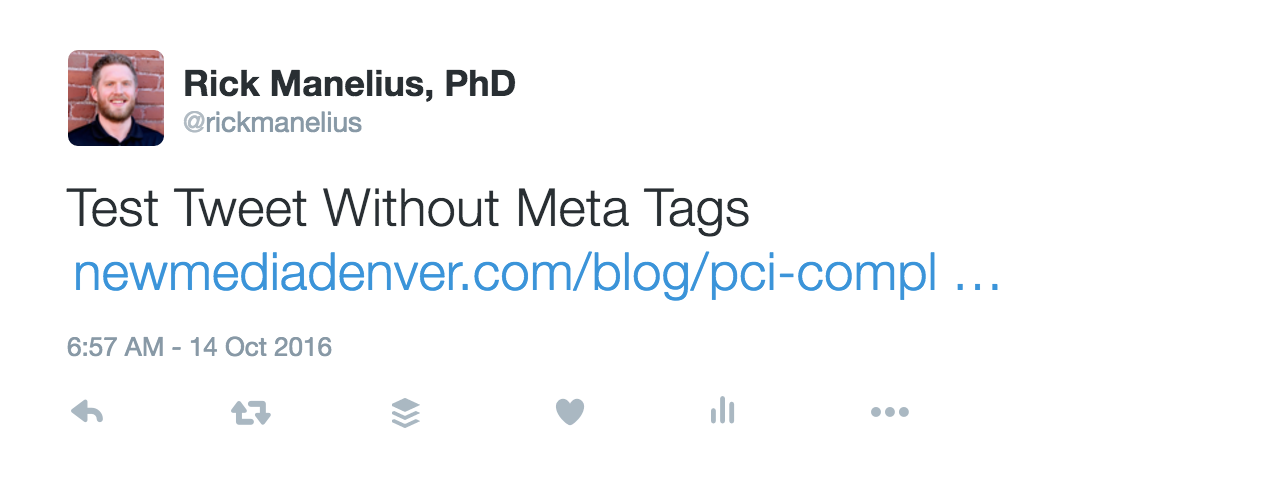 A tweet from a URL that contains no meta tags.