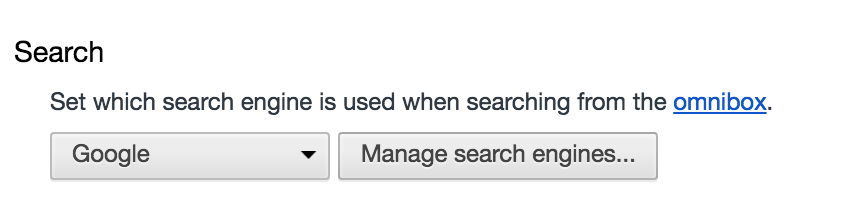 Image of Chrome search preferences